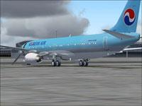 Screenshot of Korean Air Boeing 737-800 on the ground.