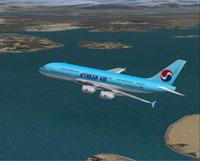 Screenshot of Korean Airlines Airbus A380-100 in flight.