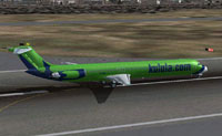 Screenshot of Kulula McDonnell Douglas MD-82 on runway.