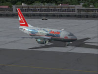 Screenshot of Lauda Air Boeing 737-600 on the ground.