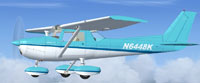 Screenshot of light blue and white Cessna 152 in flight.