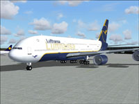 Screenshot of Lufthansa 2005 Airbus A380 on the ground.