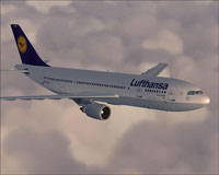 Screenshot of Lufthansa Airbus A300B4-605R in flight.