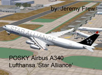 Screenshot of Lufthansa Airbus A340-300 in flight.