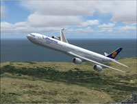 Screenshot of Lufthansa Airbus A340-642 in flight.
