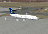 Screenshot of Lufthansa Airbus A380 on the ground.