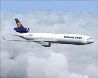 Screenshot of Lufthansa Cargo MD-11 in flight.