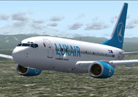 Screenshot of Luxair Boeing 737-700 in flight.