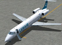 Screenshot of Luxair Embraer ERJ-145 on the ground.
