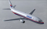 Screenshot of Malaysian Airlines Boeing 737-400 in flight.