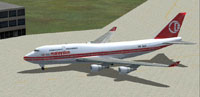 Screenshot of Malaysian Boeing 747-400 on the ground.