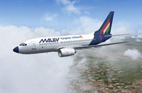 Screenshot of Malev Boeing 737-700 in flight.