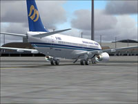 Screenshot of Mandarin Airline Boeing 737-800 on the ground.