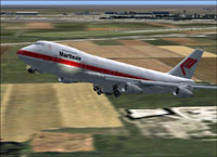 Screenshot of Martinair Boeing 747-21AC raising landing gear.