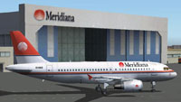Screenshot of Meridiana Airbus A319 on the ground.