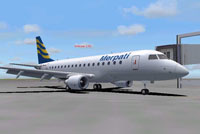 Screenshot of Merpati Nusantara Airline Embraer 170 on the ground.