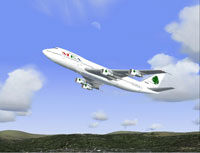 Screenshot of Middle East Airlines Boeing 747-2B4BM in flight.