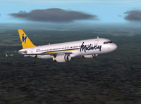 Screenshot of Midway Airbus A320 in flight.