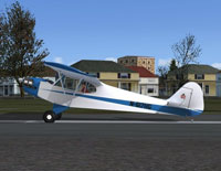 Screenshot of blue and white Piper J-3 Cub on the ground.