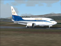 Screenshot of Noble Air Boeing 737-700 on runway.