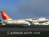 Screenshot of Northwest Airlines Airbus A319-114 taking off.