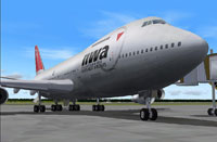 Screenshot of Northwest Airlines Boeing 747-200 on the ground.