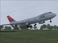 Screenshot of Northwest Boeing 747-200 taking off.