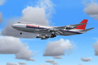 Screenshot of Northwest Orient Boeing 747-200 in flight.