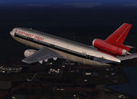 Screenshot of Northwest Orient Douglas DC10 Series 30 in flight.