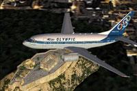 Screenshot of Olympic Airways Boeing 737-600 in flight.