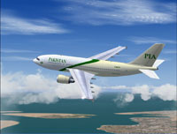 Screenshot of PIA Airbus A310 in flight.