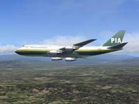 Screenshot of PIA Boeing 747-282B in flight.