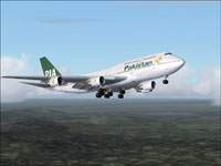 Screenshot of PIA Boeing 747-367 in flight.