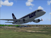 Screenshot of PLL LOT Embraer 170 in flight.