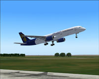 Screenshot of PLUNA Boeing 757-200 taking off.