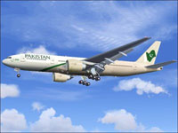 Screenshot of Pakistan International Boeing 777-200ER in flight.