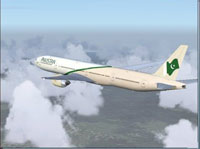 Screenshot of Pakistan International Boeing 777-300 in flight.