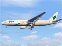 Screenshot of Pakistan International Boeing 777 in flight.