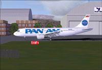 Screenshot of Pan Am Airbus A320 taxiing to runway.