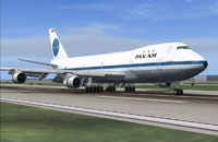 Screenshot of Pan Am Boeing 747 on runway.