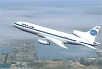 Screenshot of Pan Am Lockheed L-1011 Tristar in flight.