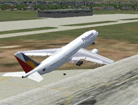 Screenshot of Philippines Airlines Airbus A300B4 taking off.