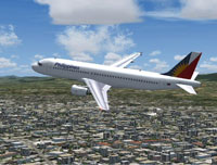 Screenshot of Philippines Airlines Airbus A320-200 in flight.