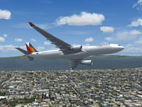 Screenshot of Philippines Airlines Airbus A330-300 in flight.