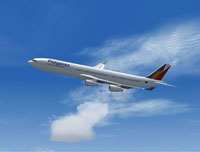 Screenshot of Philippines Airlines Airbus A340-300 in flight.