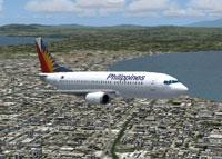 Screenshot of Philippines Airlines Boeing 737-300 in flight.