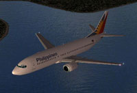 Screenshot of Philippines Airlines Boeing 737-400 in flight.