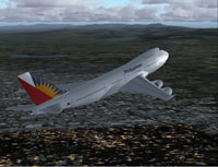 Screenshot of Philippines Airlines Boeing 747-200 in flight.
