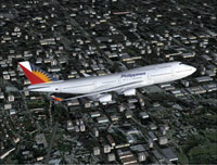 Screenshot of Philippines Airlines Boeing 747-400 in flight.