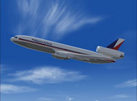 Screenshot of Philippines Airlines DC-10 in flight.